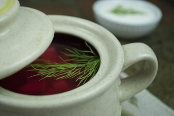 Soup - Borscht with bone-based broth - Borscht With Beetroot Greens In A Clay Pot