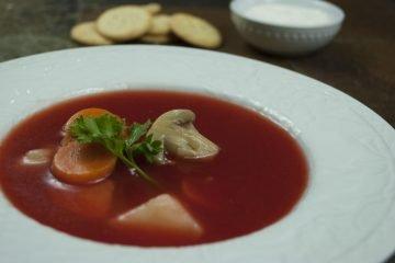 Soup - Mushroom Borscht - Mushroom Borscht With Olives