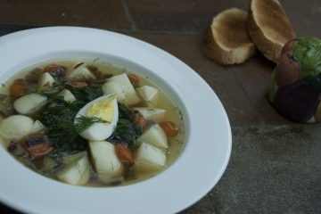 Soup - Green Borscht - Green Borscht With Honey Agaric Mushrooms