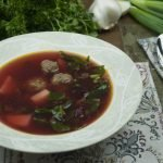 Soup - Borscht with meatballs - Diet Siberian Borscht