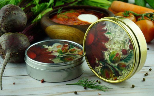 Classic Red Ukrainian Borscht Fridge Magnet Tin Jar